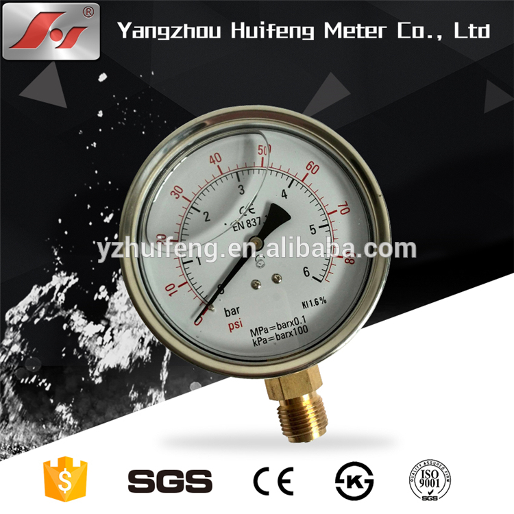 HF 2.5 inch 60mm bottom type stainless steel case oil filled pressure gauge