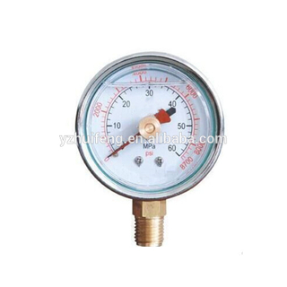 HF High 0-8700psi/MPa Memory Double Pointers Bottom Connection Stainless Steel Case 60mm Pressure Gauge