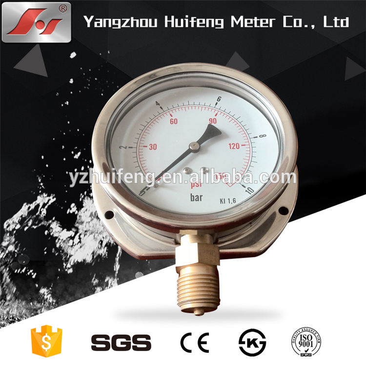 "HF 4"" Y100 100MM back mounted stainless steel pressure gauge with flange"