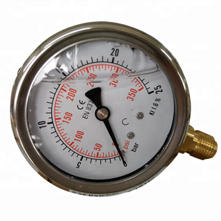 HF Small Diameter Back Connection 0-5000psi / bar Stainless Steel Liquid Filled High PSI Water Pressure Gauge