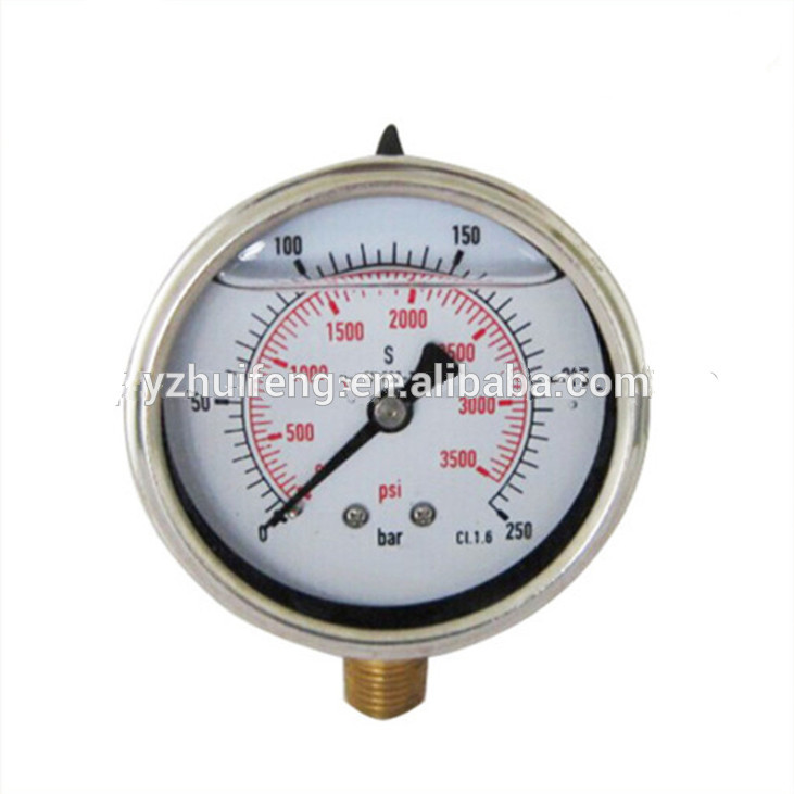 HF 0-3500psi/bar High Quality Biogas Liquid Filled Pressure Gauge CL.1.6