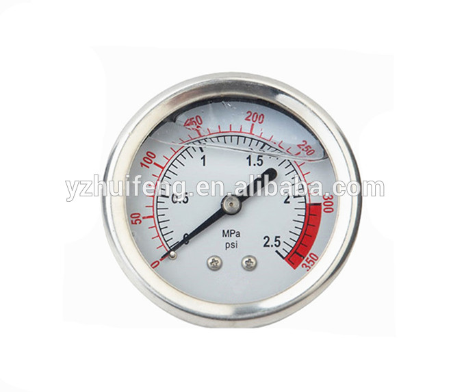 "HF Small 1.5"" Liquid Filled 0-250kg/cm2/3500psi Pressure Gauge SS/SS Back Mount Bourdon Tube"