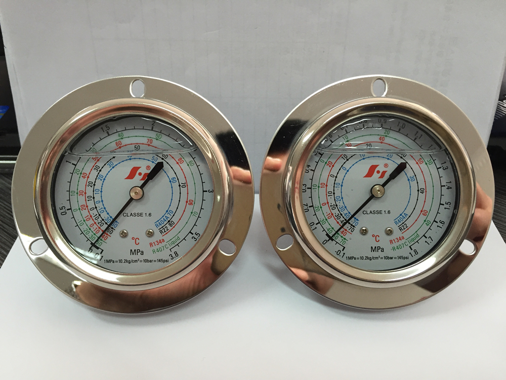 "HF 2.5"" 60mm 63mm stainless steel liquid filled refrigerant freon pressure gauge set manometer"