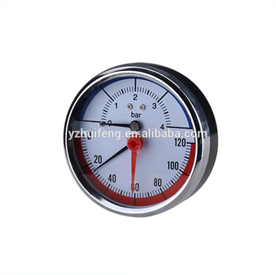 HF Fuel Tank Three Pointers Gas 0-4bar 0-120Celsius Manometer Analog LPG Pressure Gauge