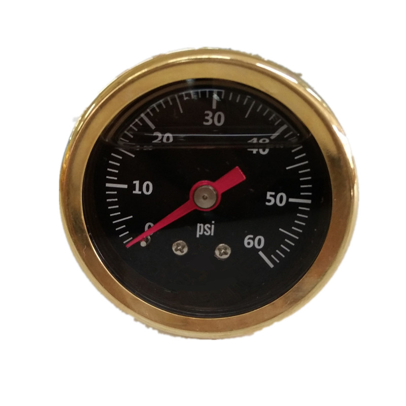 1.5 40mm polished vehicle car brass case and ring silicone oil filled pressure gauge