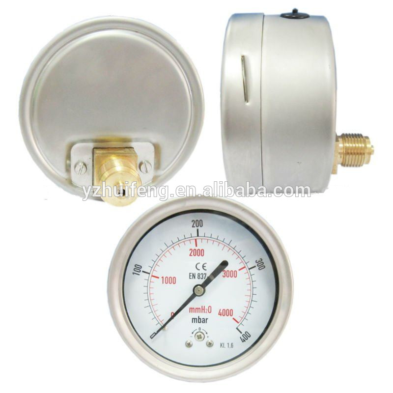 HF CE KL 1.6 0-400mbar/mmH2O Compond 63mm Capsule SS Case Lower Back Connection Pressure Gauge