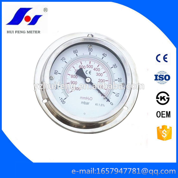 "HF Full Stainless Steel KL 1.6% Back Connection With Flange 100""-0mbar/mmH2O Gas Water Vacuum Pressure Gauge"